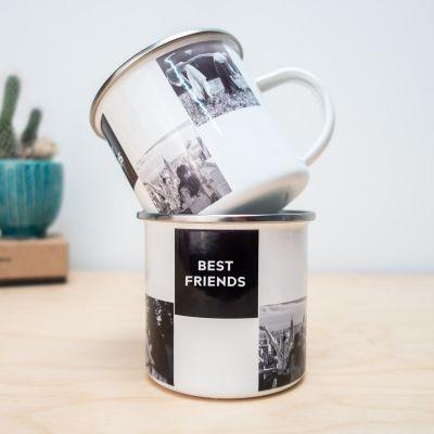 Idées cadeaux pour mettre dans le calendrier de l'avent - Tasse en métal personnalisable avec photos et texte