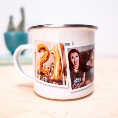 Idées cadeaux pour mettre dans le calendrier de l'avent - Tasse en métal personnalisable avec photos
