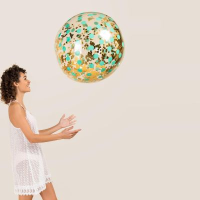 Été - Ballon de Plage Géant avec Confettis