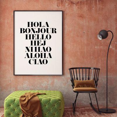 Produits exclusifs - Hola Bonjour Poster par MottosPrint