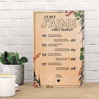 f1218422cb6 Cadeau fête des mères - Poster en bois personnalisable - Ce que j