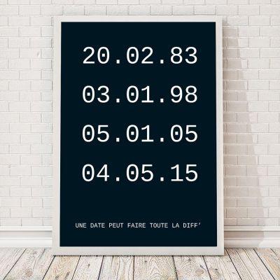 fef88a2a44c5 Idées cadeaux parents - Dates importantes – Poster personnalisable