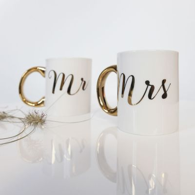 Cadeau Saint Valentin Homme - Tasses dorées Mr & Mrs