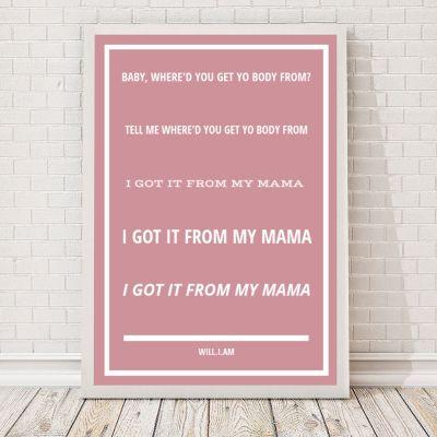 Cadeau mariage - Paroles de chanson - Poster personnalisable