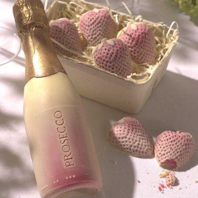 Cadeau fête des mères - Fraises et Prosecco en Chocolat