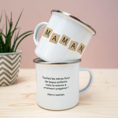 Idées cadeaux pour mettre dans le calendrier de l'avent - Tasse en métal Personnalisable MAMAN