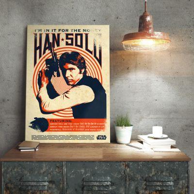 Cadeaux de Noël pour Papa - Poster métallique Star Wars – Han Solo Retro