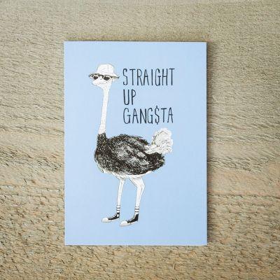 Cartes - Carte de vœux Autruche Gangsta