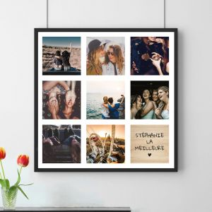 Poster Photo Personnalisable - 8 Images + Texte