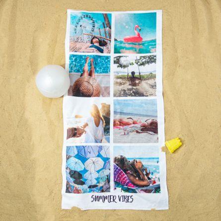 Serviette personnalisée avec 8 photos et texte