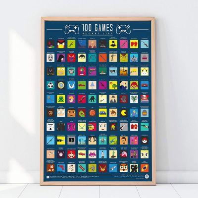Cadeau de Noël pour homme - Poster 100 Jeux à découvrir avant de mourir