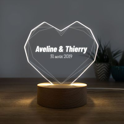 Cadeau romantique - Lampe LED avec Cœur