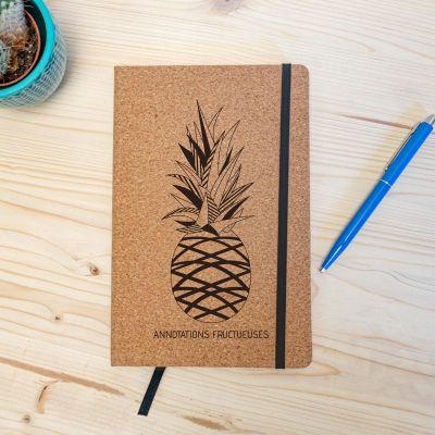Cadeau gravé - Carnet en liège Personnalisable - Ananas