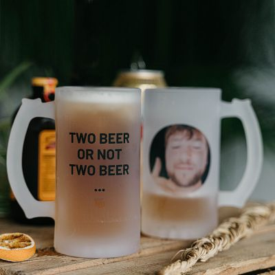Cadeau prenom - Chope de bière personnalisable avec photo et texte