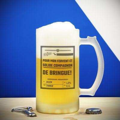 Cadeau bachelier - Chope en verre Personnalisable