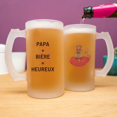 Cadeaux Photo - Chope de bière personnalisable avec photo et texte