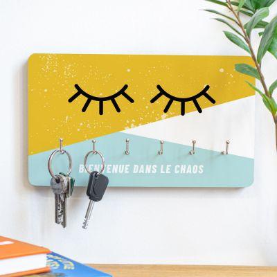 Cadeaux en bois personnalisés - Porte-clés Yeux avec texte personnalisable