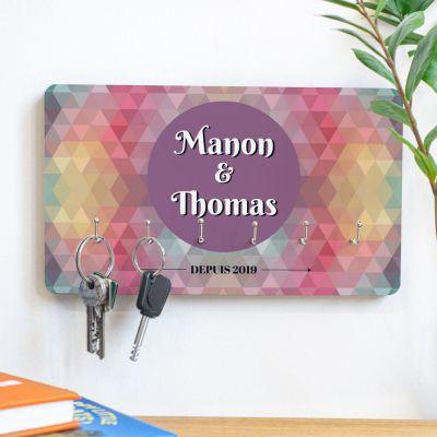 Décoration & Mobilier - Porte-clés personnalisable avec fond coloré