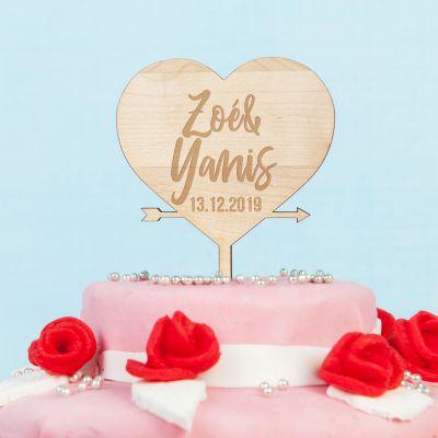 Cadeau mariage - Décoration Personnalisable Cœur pour Gâteau