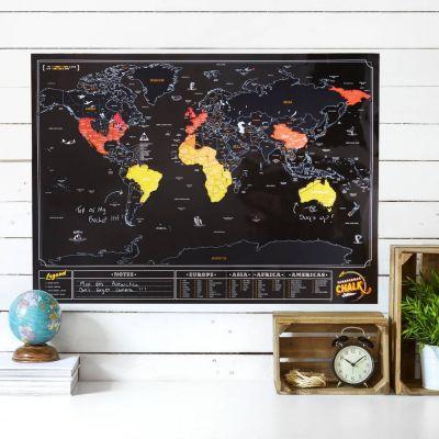 Cadeau bachelier - Carte du monde à gratter Ardoise