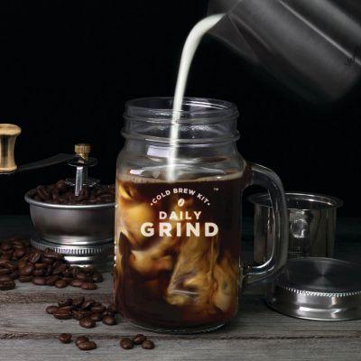 Verres & Mugs - Kit Slow Coffee avec moulin à café intégré et Mason Jar