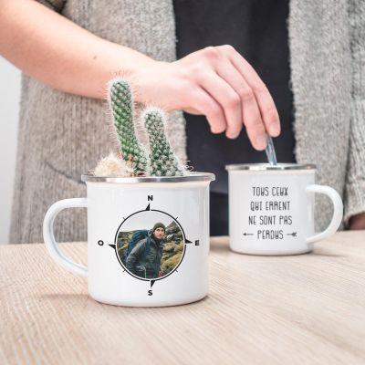 Tasses personnalisées - Tasse en métal boussole personnalisable avec photo