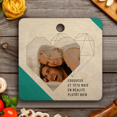 Cadeaux en bois personnalisés - Planche à découper Personnalisable avec photo, texte et coeur