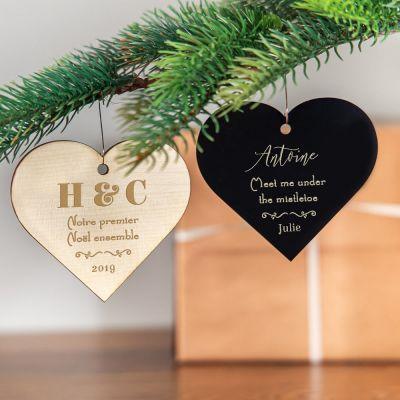 Cadeau gravé - Décoration de Noël avec coeur