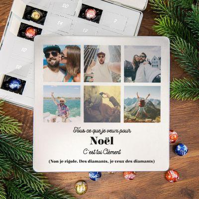 Cadeau prenom - Calendrier de l'Avent - Boîte en métal Pralines avec 6 photos et texte