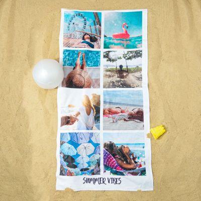 Petits cadeaux pas cher - Serviette personnalisée avec 8 photos et texte