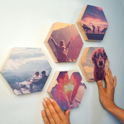 Cadeaux en bois exclusifs - Photo sur Bois en forme d'Hexagone