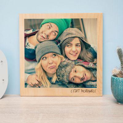 Cadeaux en bois personnalisés - Photo Personnalisable sur Bois - Effet Polaroid