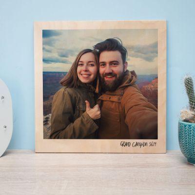 Cadeaux en bois exclusifs - Photo Personnalisable sur Bois - Effet Polaroid