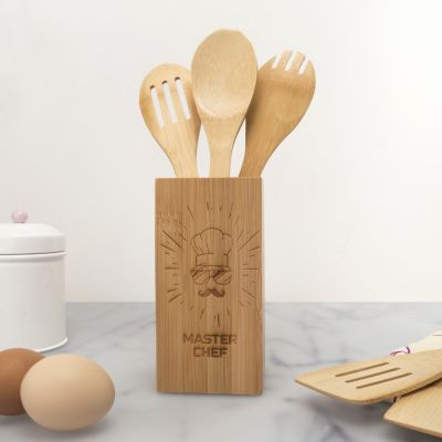 Cadeaux en bois exclusifs - Set de Cuillères en bois Personnalisable Box Master Chef
