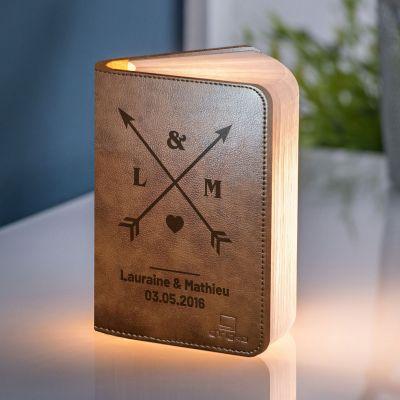 Cadeau gravé - Lampe Livre Personnalisable pour Couples