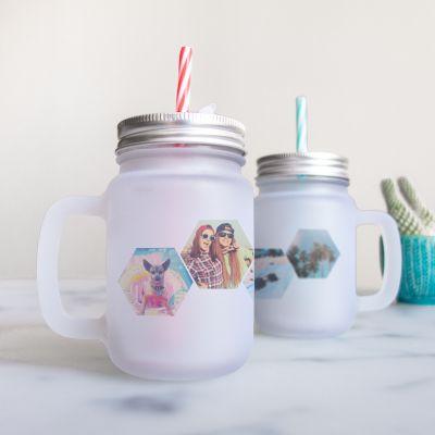Cadeau anniversaire Femme - Mason Jar personnalisable avec 4 images