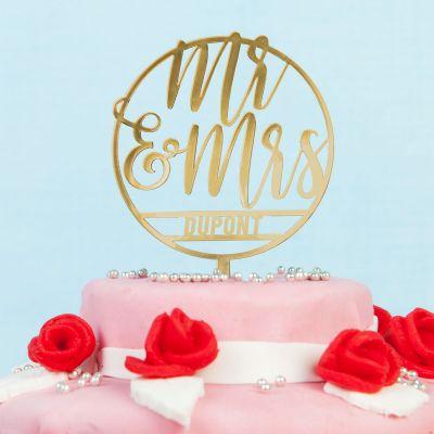 Cadeau mariage - Décoration Personnalisable pour Gâteau de Mariage