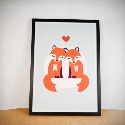 Cadeau anniversaire de mariage - Couple Renard – Poster personnalisable