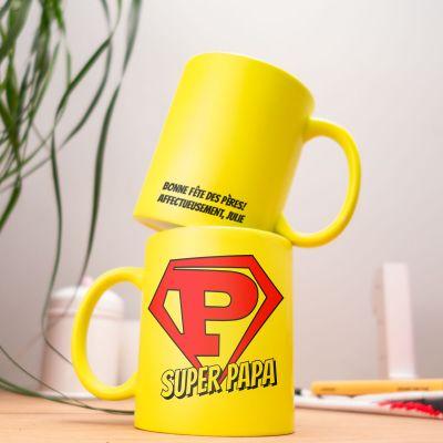 Cadeau anniversaire papa - Tasse Personnalisable Néon Super Papa