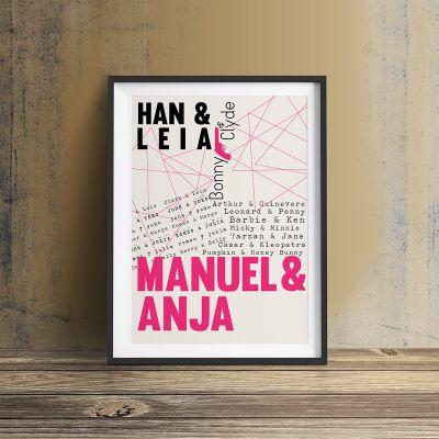 Cadeau anniversaire de mariage - Amants célèbres - Poster Personnalisable