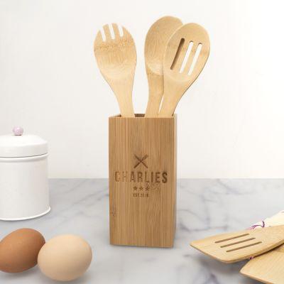 Cadeau gravé - Set de cuillères en bois personnalisable, avec boîte de restaurant