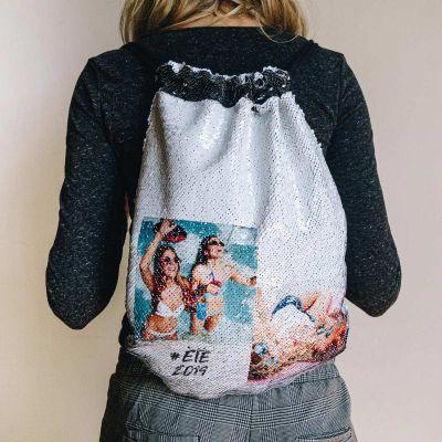 Vêtements & Accessoires - Sac de gym en sequin personnalisable avec 2 images et texte