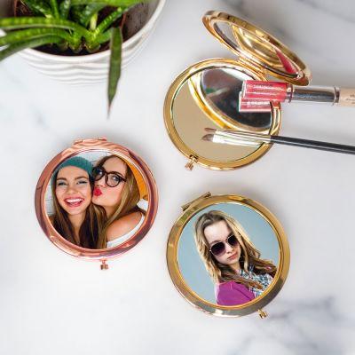 Cadeau anniversaire Femme - Miroir de poche personnalisable avec photo