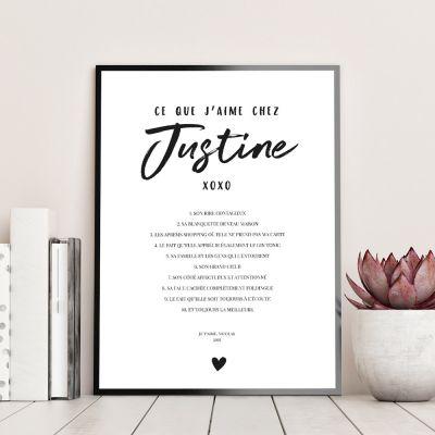 Cadeau prenom - Poster Personnalisable Ce Que J'aime Chez…