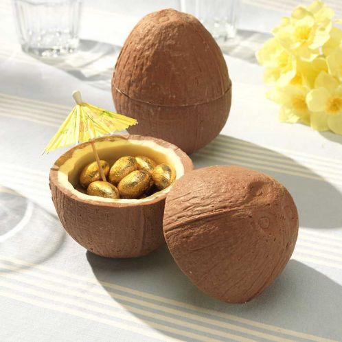 Idée cadeau - Noix de coco en Chocolat (avec ses petits œufs en chocolat)