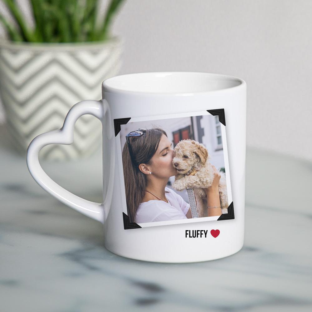 Cadeaux pour animaux Tasse Poignée Cœur avec Photo et Texte