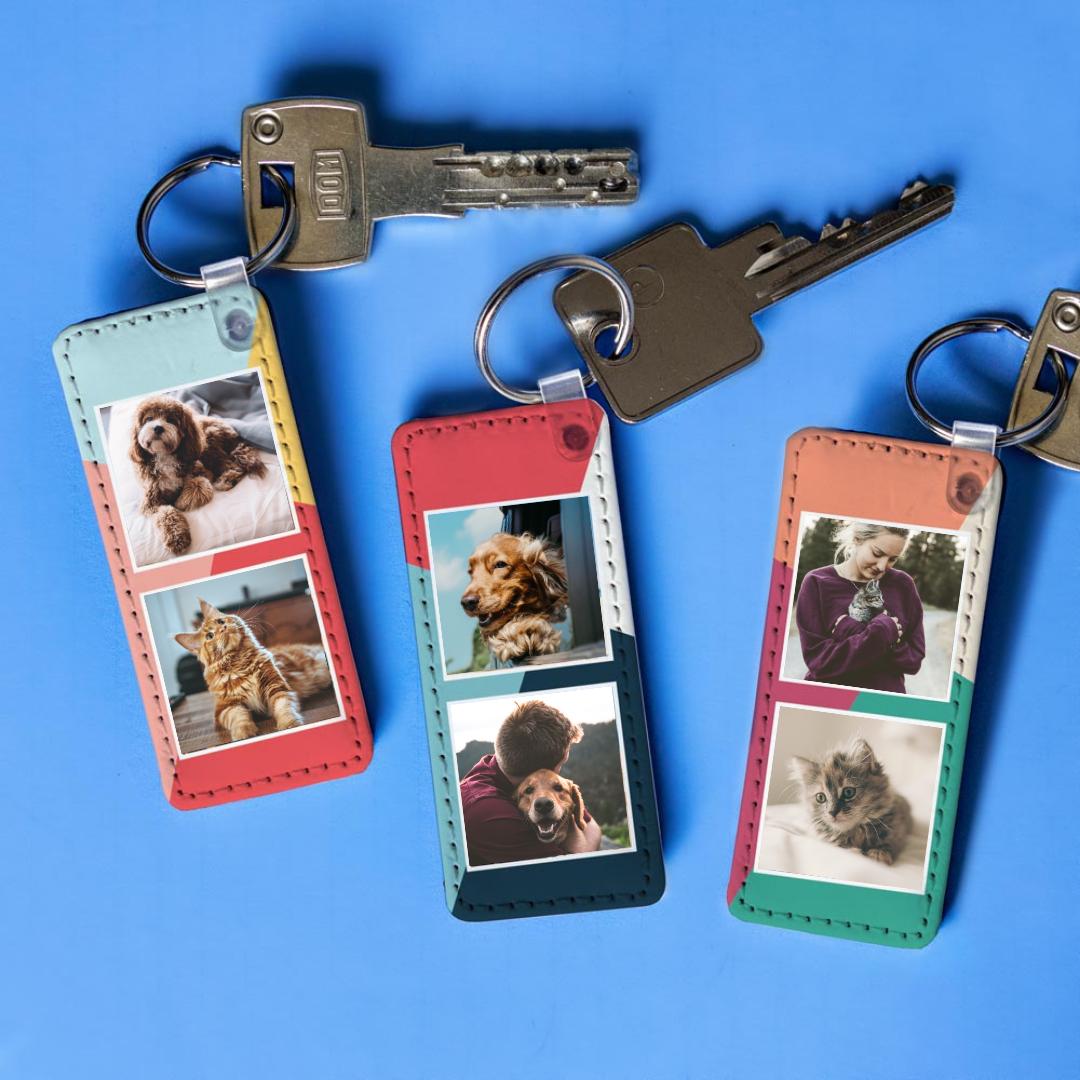 Cadeaux pour animaux Porte-clés Personnalisable avec 2 Photos