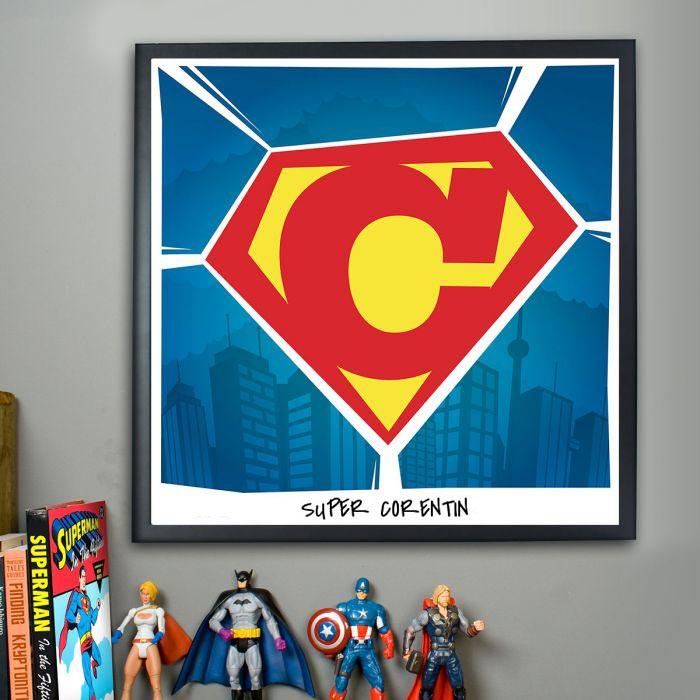 Cadeau Noel Homme : le poster personnalisable superman